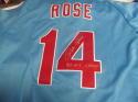 Pete Rose Philadelphia Phillies Signed Throwback Jersey COA Inscription