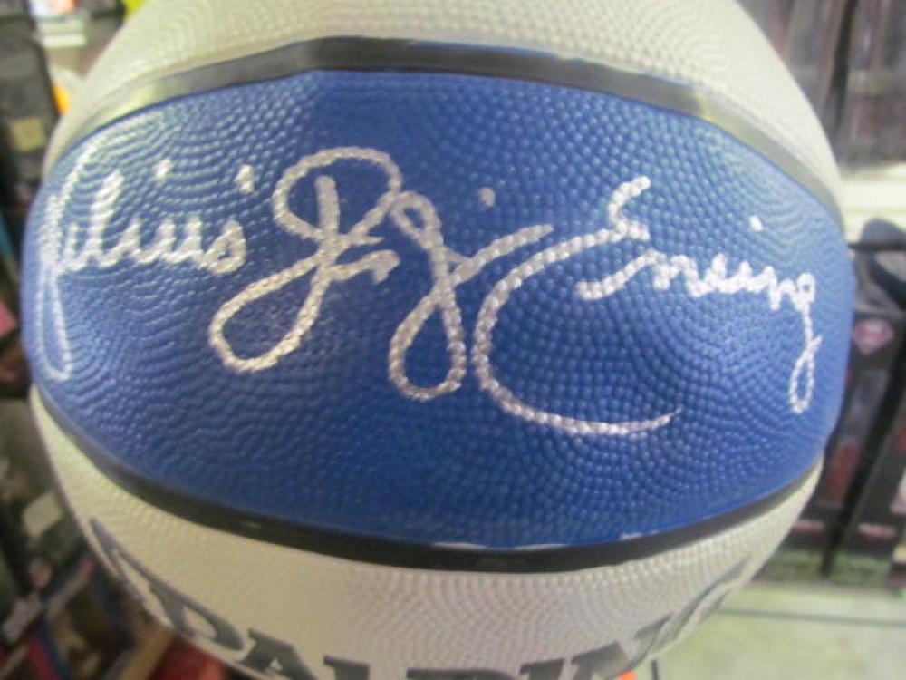 Julius Erving DR J Philadelphia 76ers  Signed FS ABA Replica Basketball COA